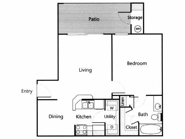 635 sq. ft. Brazos floor plan