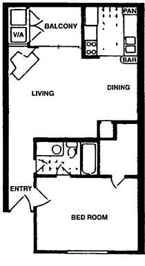 679 sq. ft. floor plan