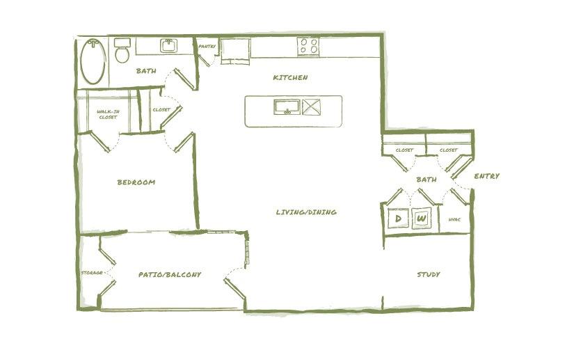 1,025 sq. ft. A5 floor plan