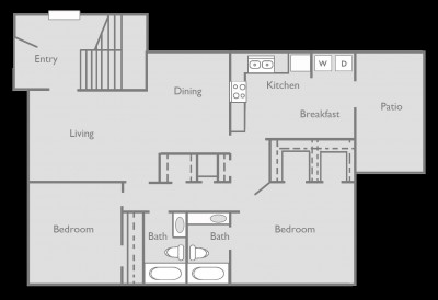 1,203 sq. ft. B floor plan