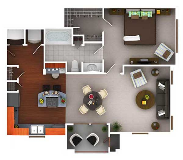 761 sq. ft. A1.1 floor plan
