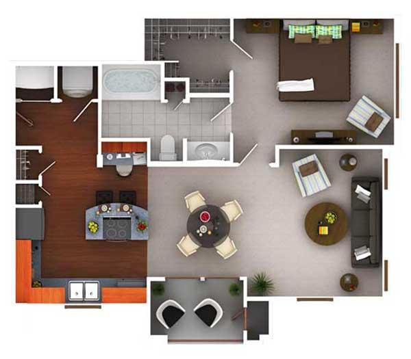 761 sq. ft. A1.1 floor plan