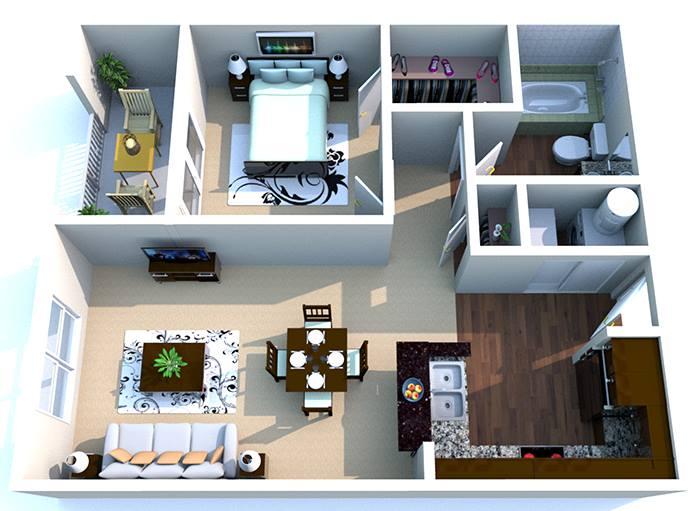 615 sq. ft. A2 floor plan