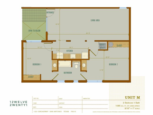 1,085 sq. ft. M floor plan