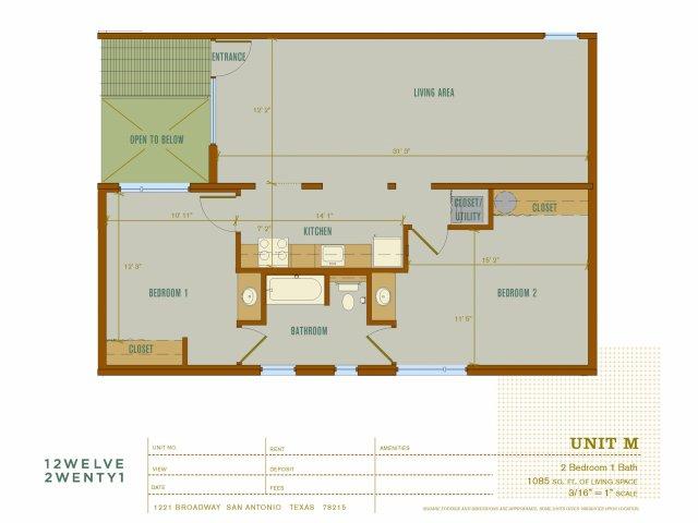 1,085 sq. ft. M floor plan
