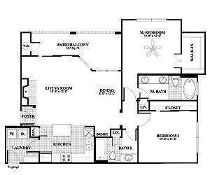 1,196 sq. ft. B3, ALT1 floor plan