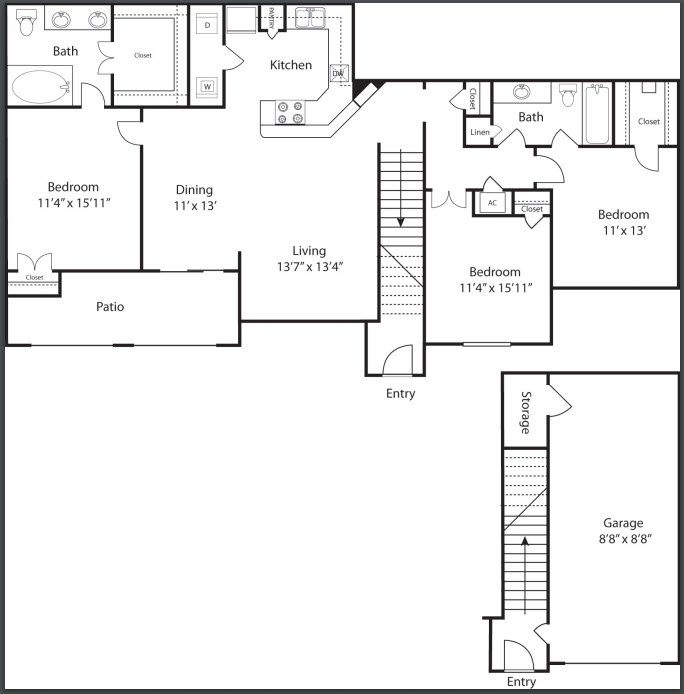 1,452 sq. ft. C1 floor plan