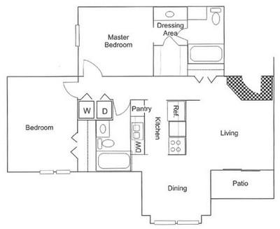 950 sq. ft. B5 floor plan
