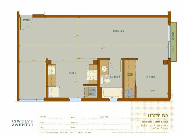 743 sq. ft. B2 floor plan