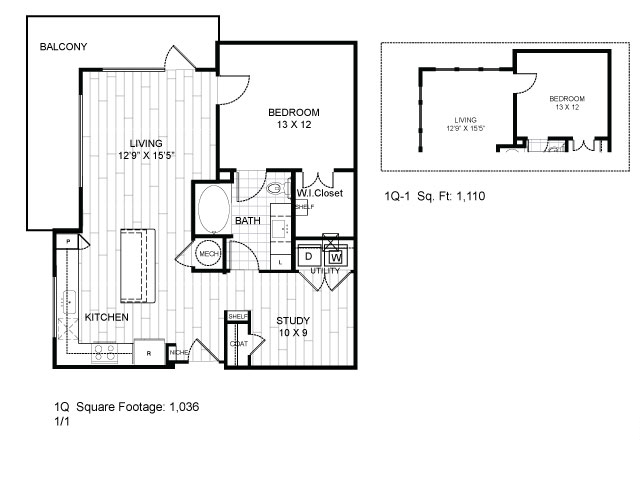 1,036 sq. ft. 1Q floor plan