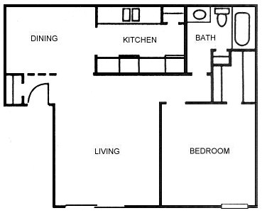 747 sq. ft. A1 floor plan