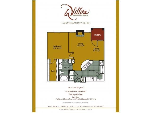 899 sq. ft. San Miguel floor plan
