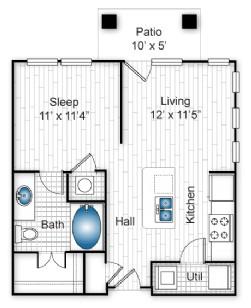 597 sq. ft. E1 floor plan
