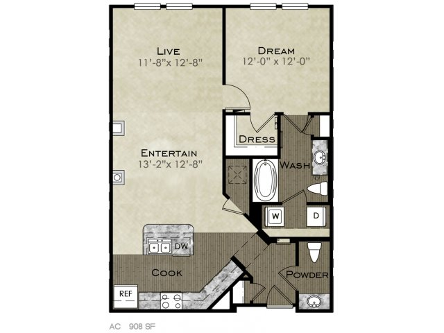 908 sq. ft. Holly floor plan