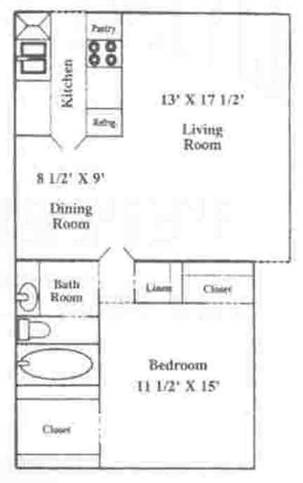 707 sq. ft. A-2 floor plan