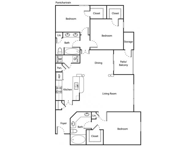 1,416 sq. ft. Pontchartrain floor plan