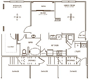 876 sq. ft. DOXERY floor plan