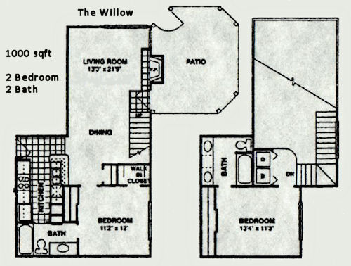 1,000 sq. ft. Willow floor plan