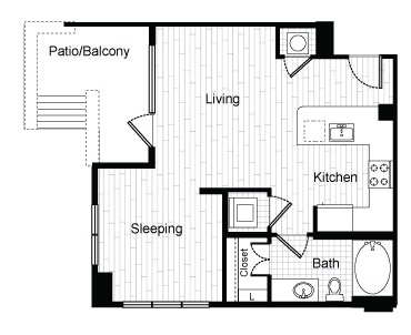 597 sq. ft. E3 floor plan