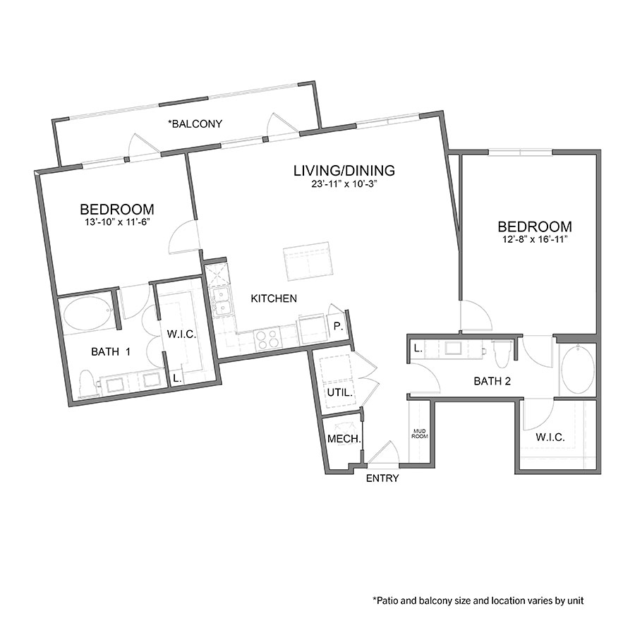 1,345 sq. ft. B5 floor plan