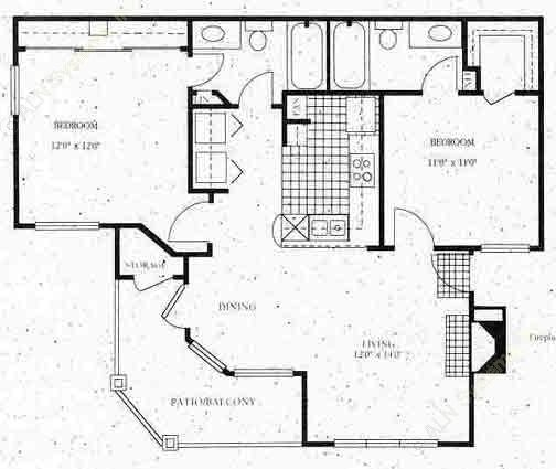 889 sq. ft. B1 floor plan