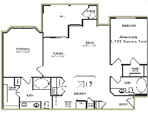 1,122 sq. ft. Wisteria - A floor plan