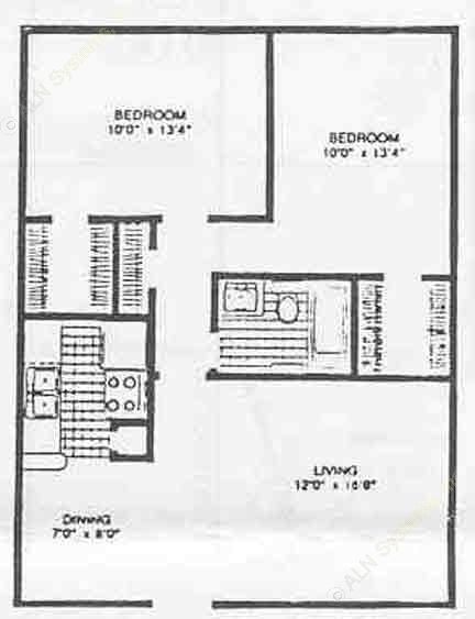 810 sq. ft. II floor plan