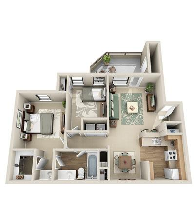 926 sq. ft. Cedar floor plan