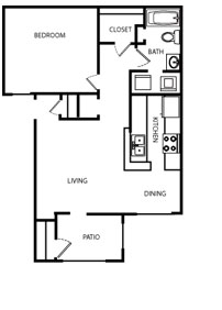 658 sq. ft. A floor plan