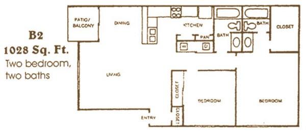 1,028 sq. ft. B2 floor plan