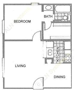 520 sq. ft. 1A1 floor plan
