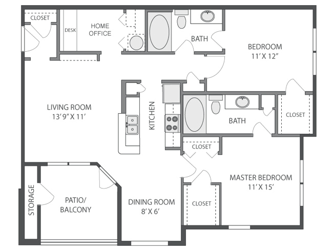 1,181 sq. ft. floor plan