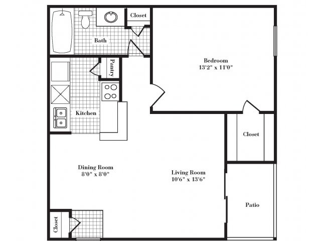 593 sq. ft. A1 I&II floor plan