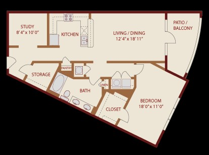 1,069 sq. ft. Mount Bonnell floor plan