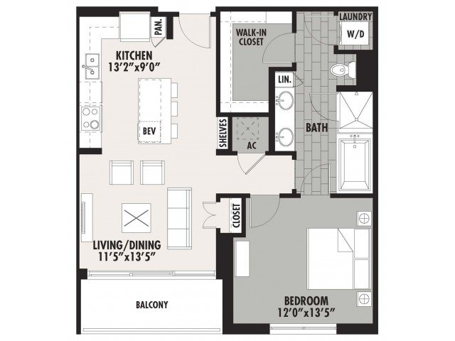836 sq. ft. A5 floor plan