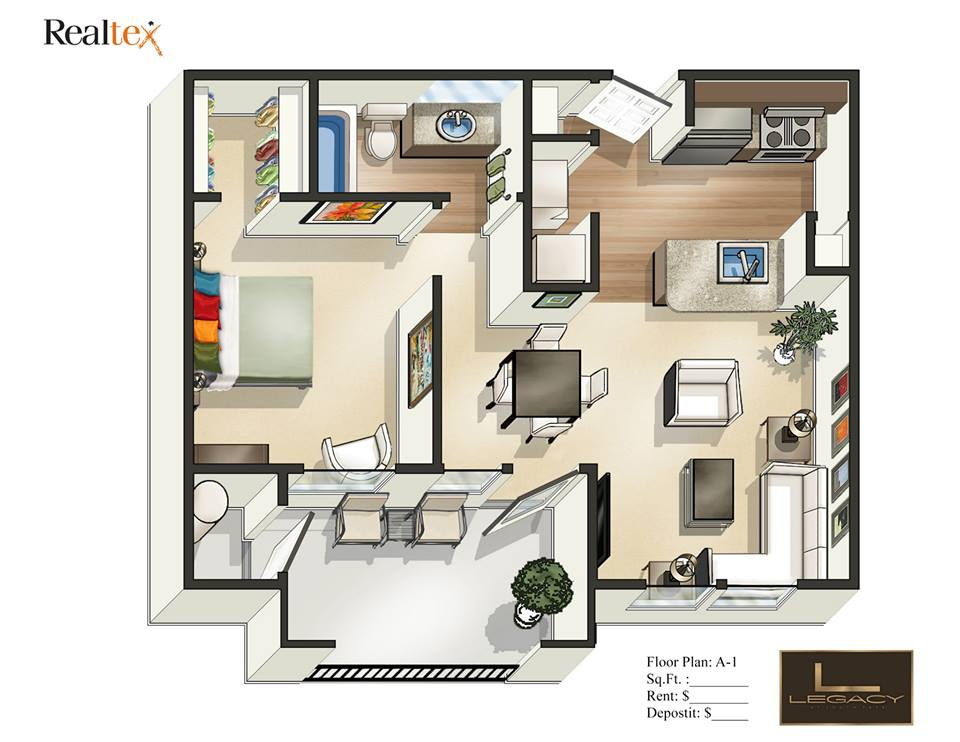 629 sq. ft. A1 floor plan