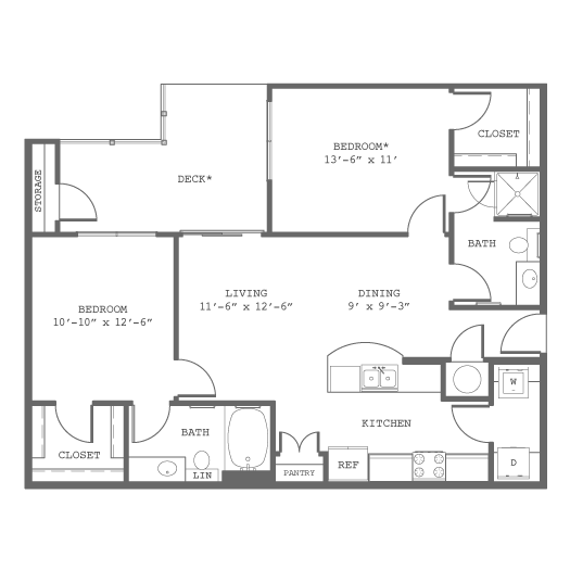 954 sq. ft. B5-AD floor plan