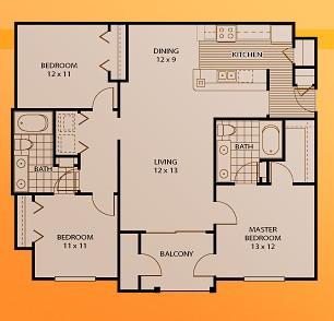 1,299 sq. ft. C1 floor plan