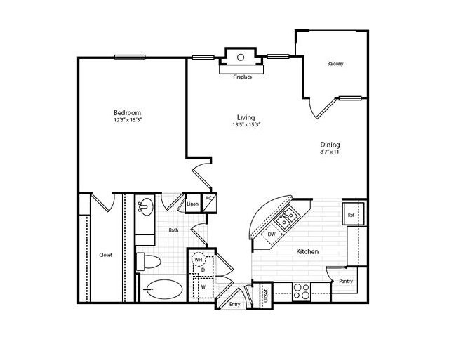 847 sq. ft. A42G-1 floor plan