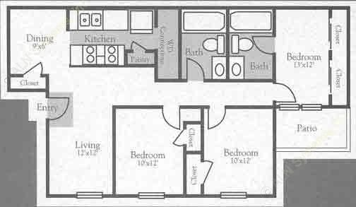 1,038 sq. ft. C floor plan