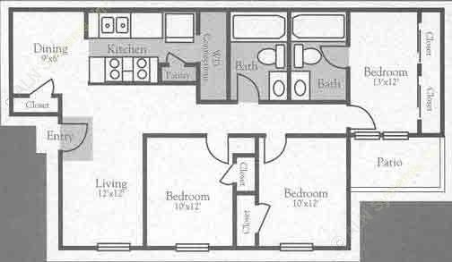1,038 sq. ft. C floor plan