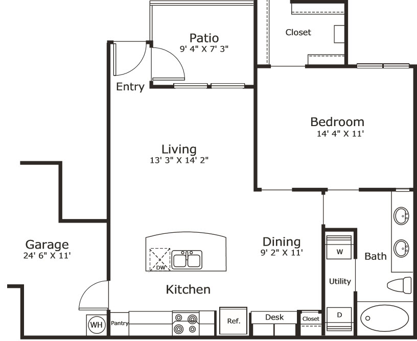 763 sq. ft. A2G floor plan