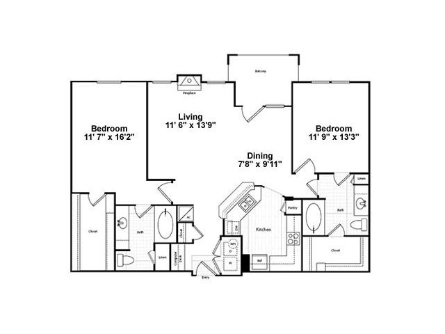 1,168 sq. ft. B32G-1 floor plan