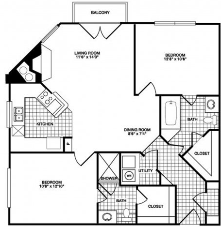 967 sq. ft. B4 floor plan