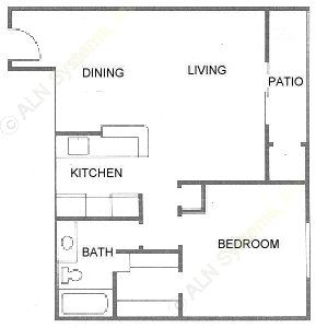 662 sq. ft. A3 floor plan