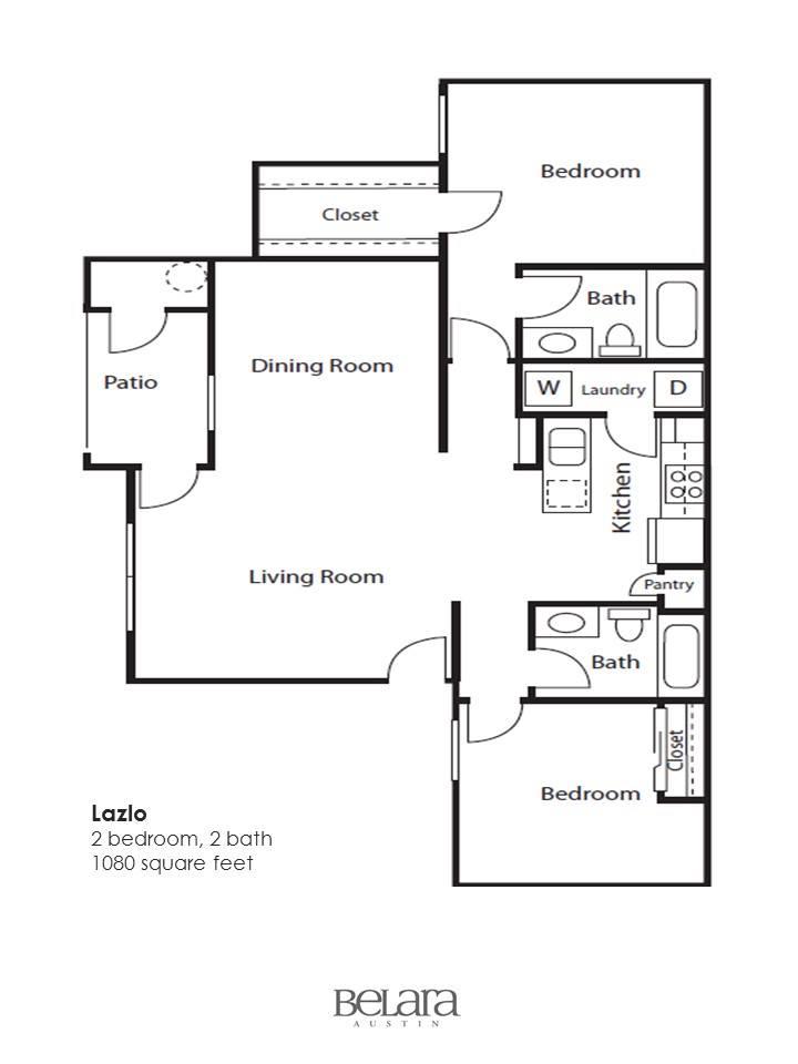 1,080 sq. ft. Lazlo floor plan