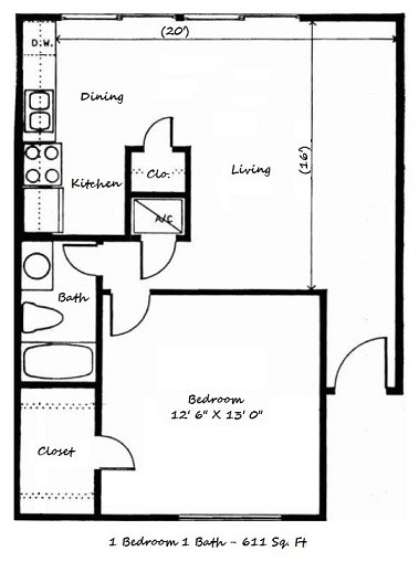 611 sq. ft. C floor plan