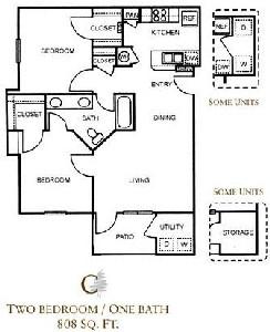 808 sq. ft. C/60 floor plan