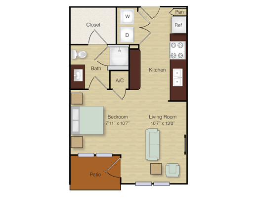 482 sq. ft. A1 floor plan