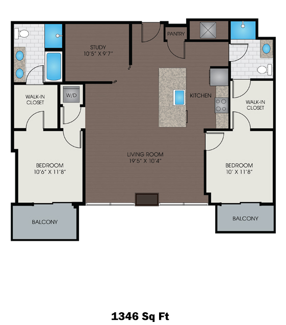 1,346 sq. ft. P floor plan